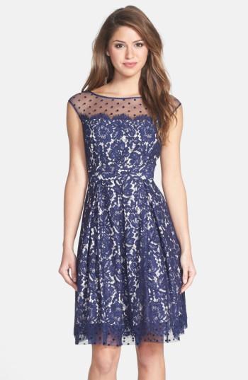Eliza J Illusion Yoke Lace Fit Amp Flare Dress In Blue Lyst