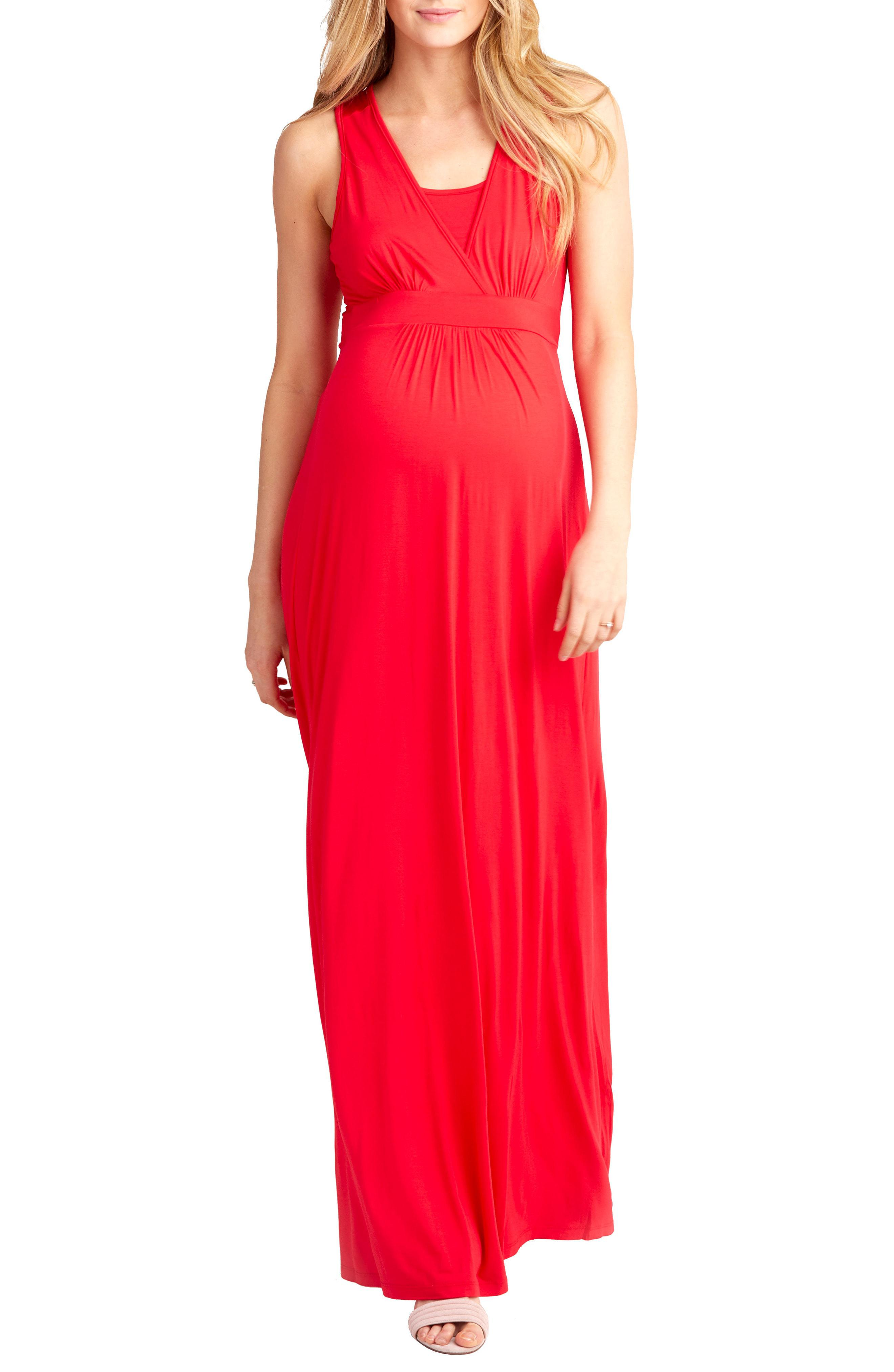 b6e2da6160f Lyst - Nom Maternity Hollis Maternity nursing Maxi Dress in Red ...