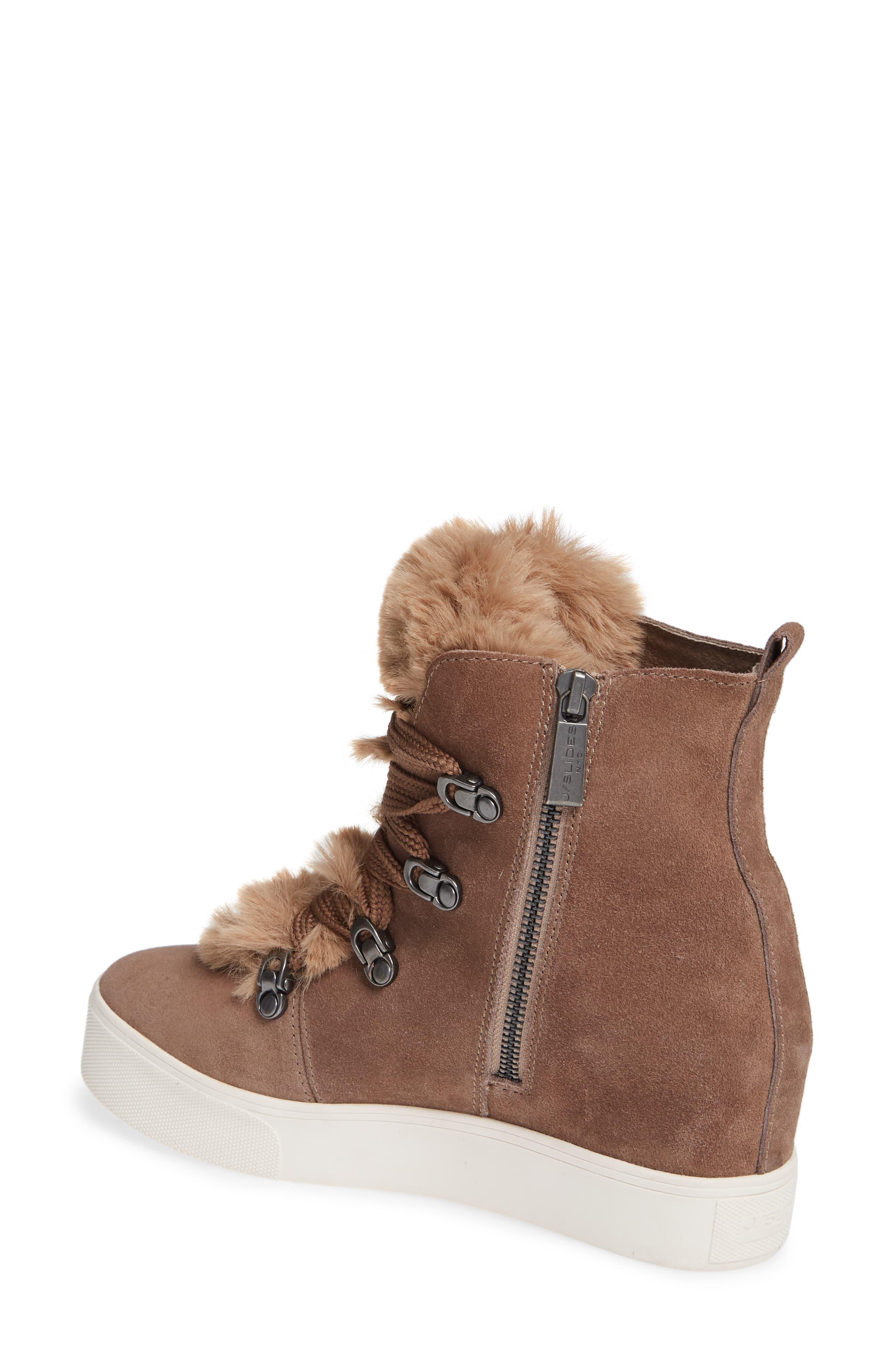 12ffc5390de Women's Brown Whitney Faux Fur Trim High Top Sneaker