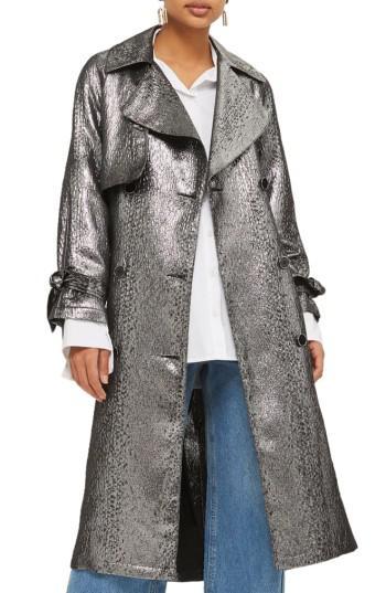 Lyst Topshop Metallic Trench Coat In Gray