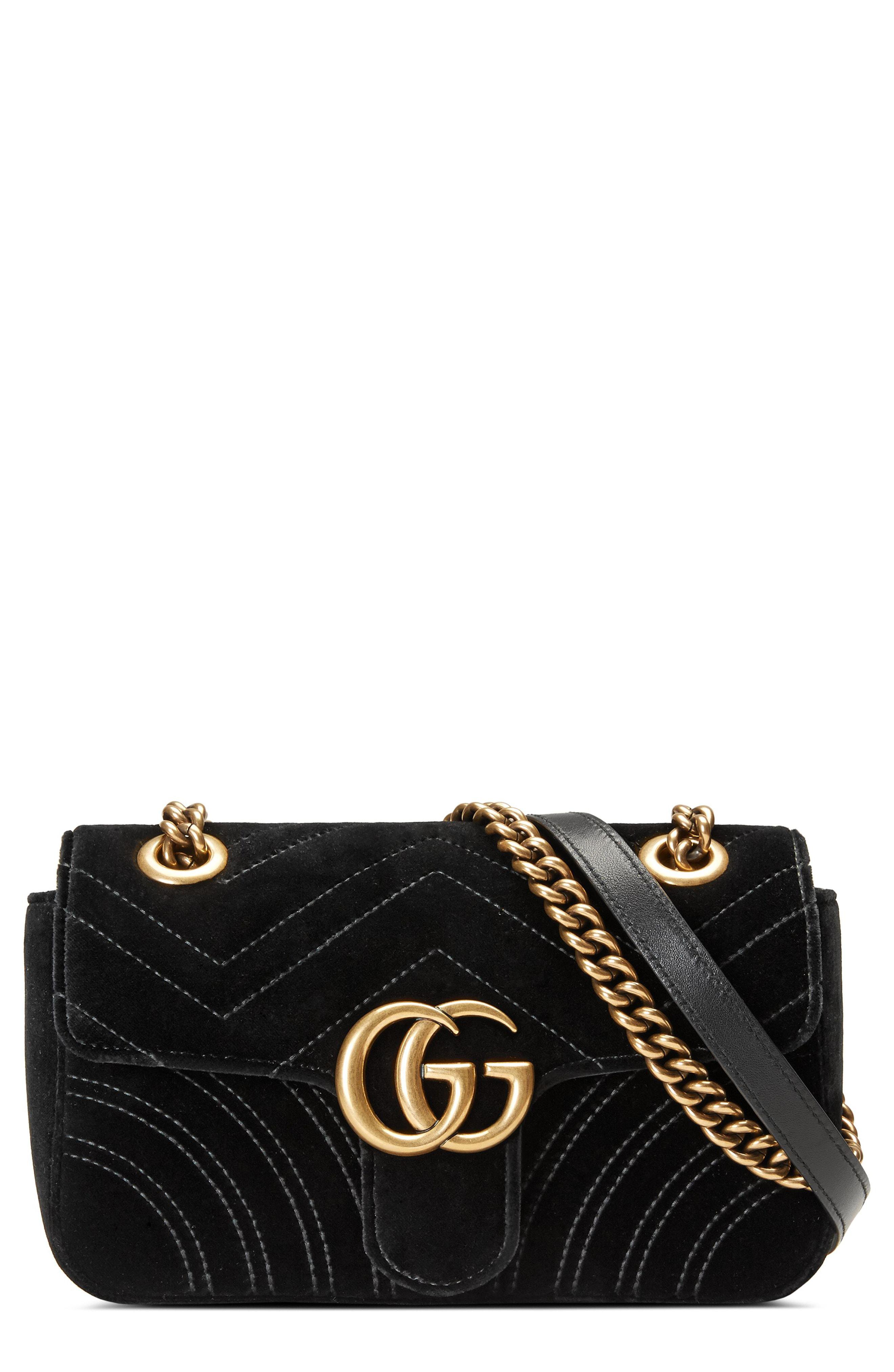 47a58f1c2 Gucci. Women's Black Small Gg Marmont 2.0 Matelasse Velvet Shoulder Bag