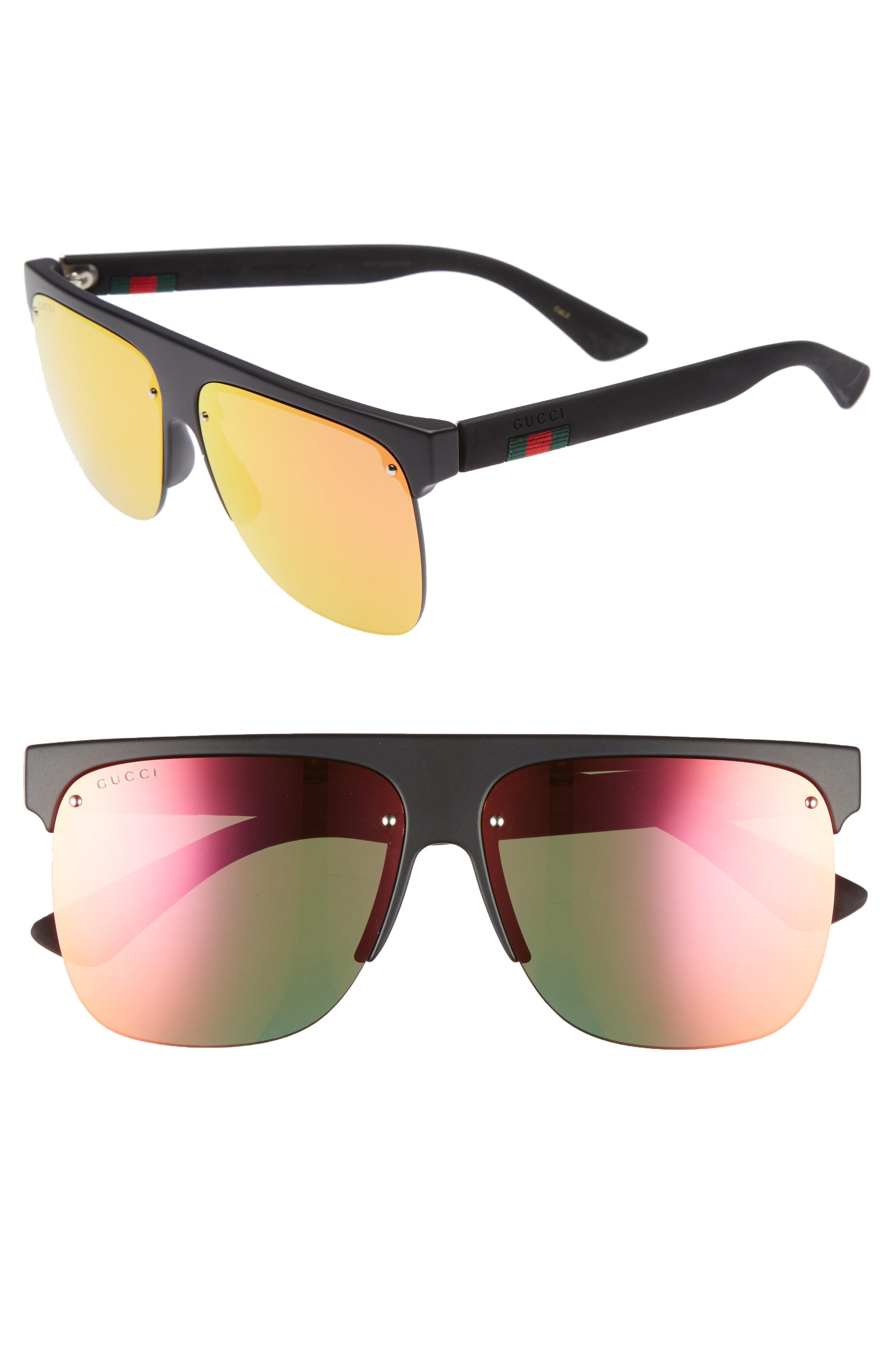 f38e5a4bca2 Lyst - Gucci 60mm Semi Rimless Polarized Sunglasses in Black for Men