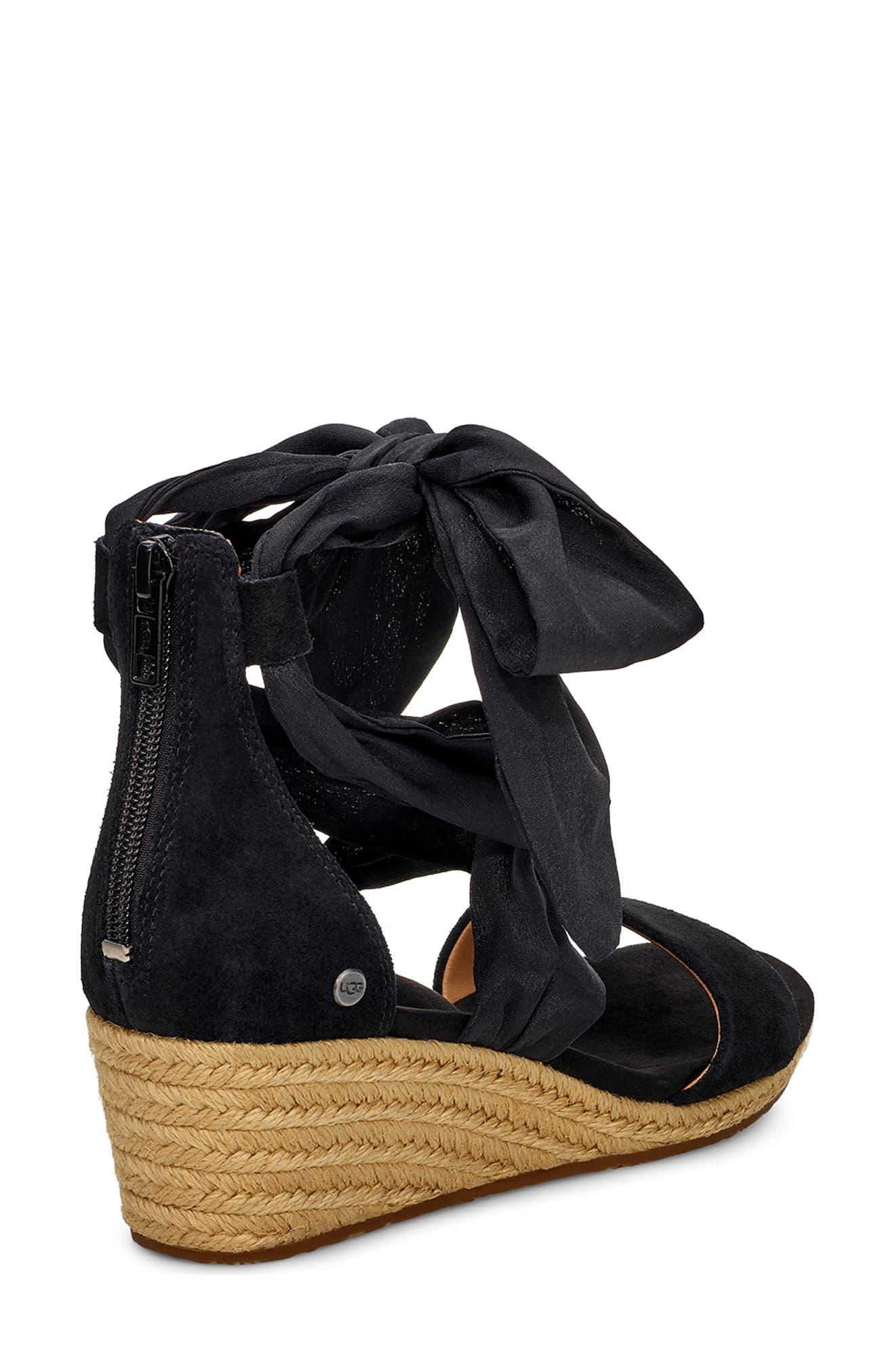 0a0ab54555c Women's Black Ugg Trina Ankle Tie Wedge Sandal