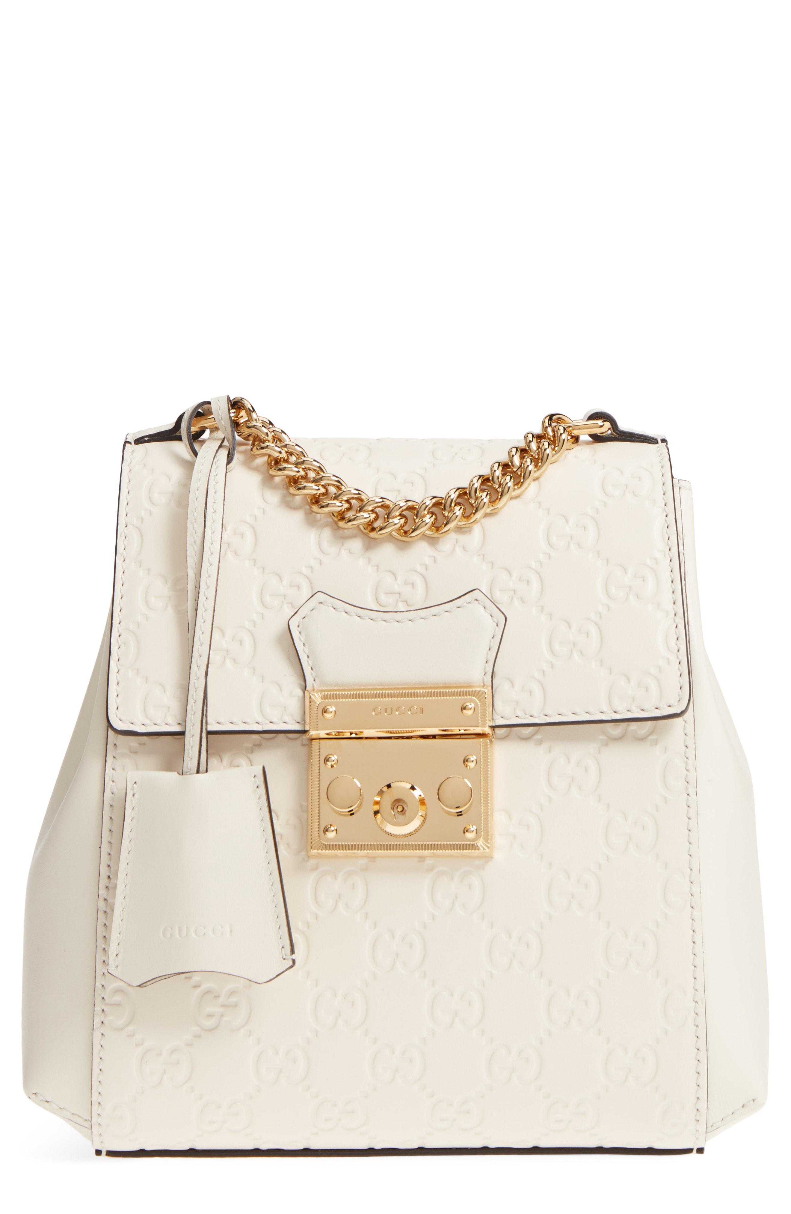 e356d7cef73 Gucci Gg Supreme Leather Padlock Backpack in White - Lyst
