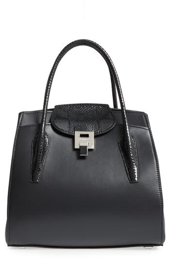 70302d3f1f10a Lyst - Michael Kors Large Bancroft Leather Top Handle Satchel in Black