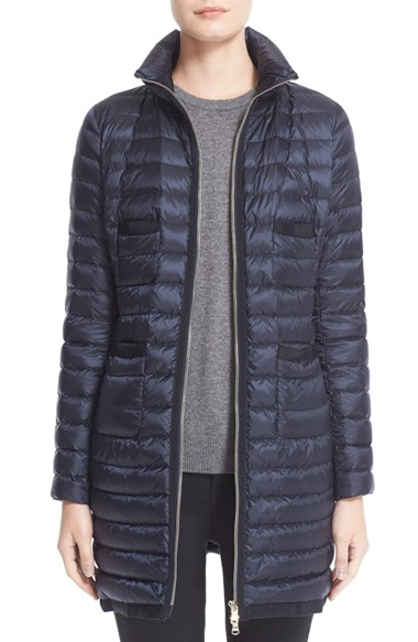 Moncler Bogue Water Resistant Long Down Jacket In Blue Lyst