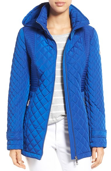 Calvin Klein Blue Hooded Quilted Jacket In Blue Lyst