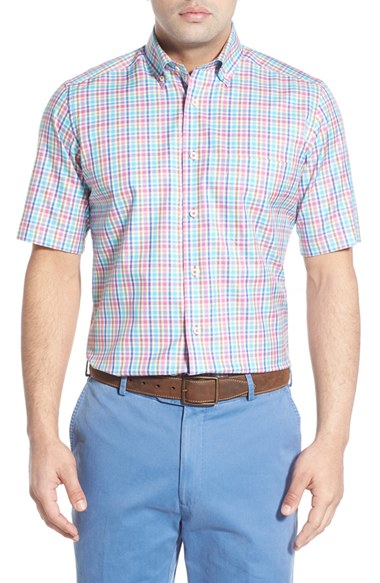 David Donahue Regular Fit Plaid Sport Shirt In Pink For