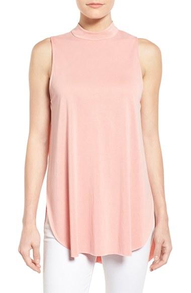 Lyst - Bobeau Sleeveless Mock Neck Knit Tulip Hem Tunic in Pink