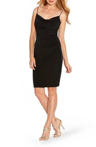 Laundry By Shelli Segal Spaghetti Strap Ruched Jersey