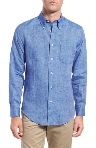 Lyst brooks brothers regent fit solid linen sport shirt for Brooks brothers custom shirt