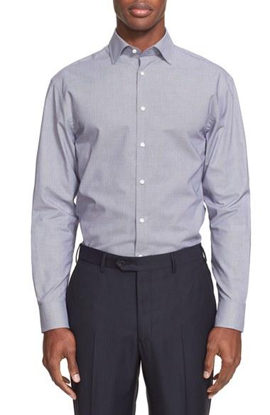 Armani extra trim fit micro pattern dress shirt in blue for Extra trim fit dress shirt