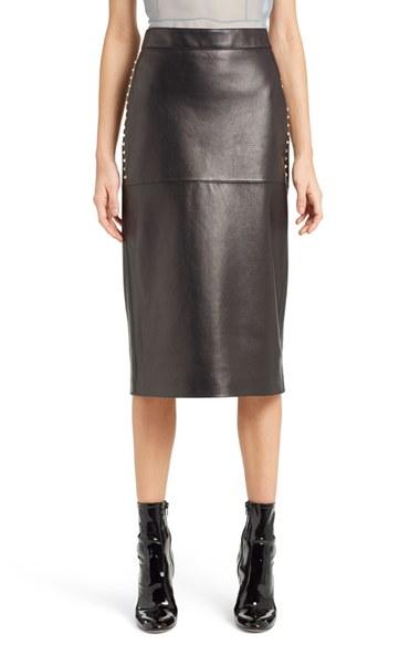 valentino studded lambskin leather skirt in black lyst
