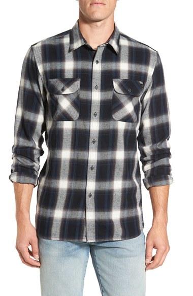Rip curl 39 zarco 39 trim fit plaid flannel shirt in black for for Trim fit flannel shirts