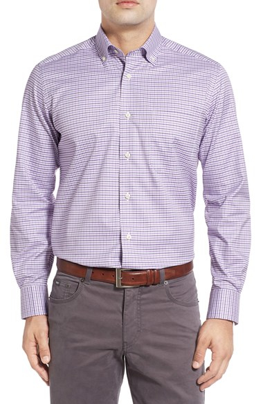 David Donahue Regular Fit Check Sport Shirt In Pink For