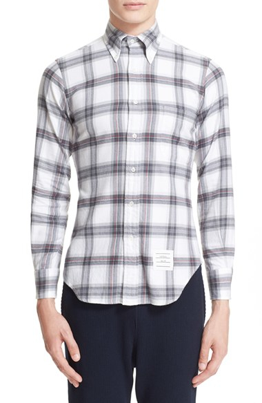 Lyst Thom Browne Plaid Flannel Shirt In Gray For Men