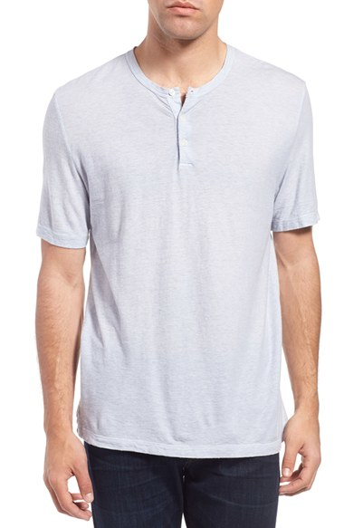 Lyst james perse stripe short sleeve henley in gray for men for James perse henley shirt