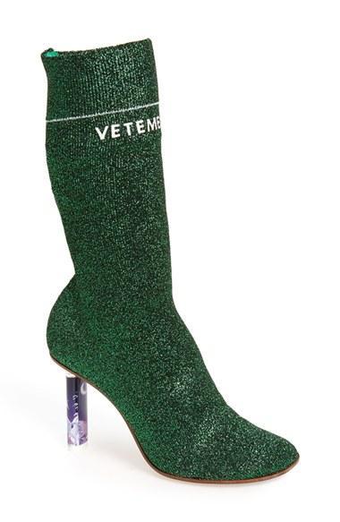 Vetements Glitter Sock Knit Ankle Boots In Green Lyst