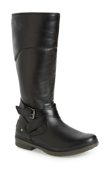43add154192 UGG Black Evanna Leather Riding Boots
