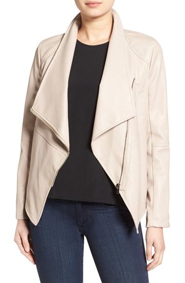 Bb Dakota Carmen Faux Leather Drape Front Jacket Lyst