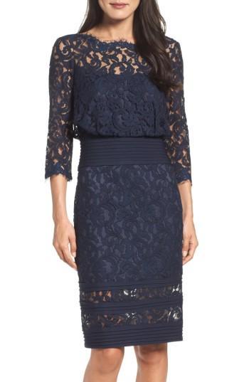Tadashi Shoji Pleat Waist Lace Blouson Dress In Blue Lyst