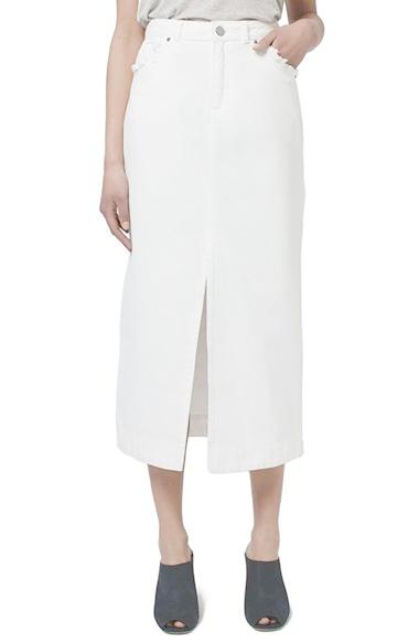 Lyst Topshop Denim Midi Skirt In White