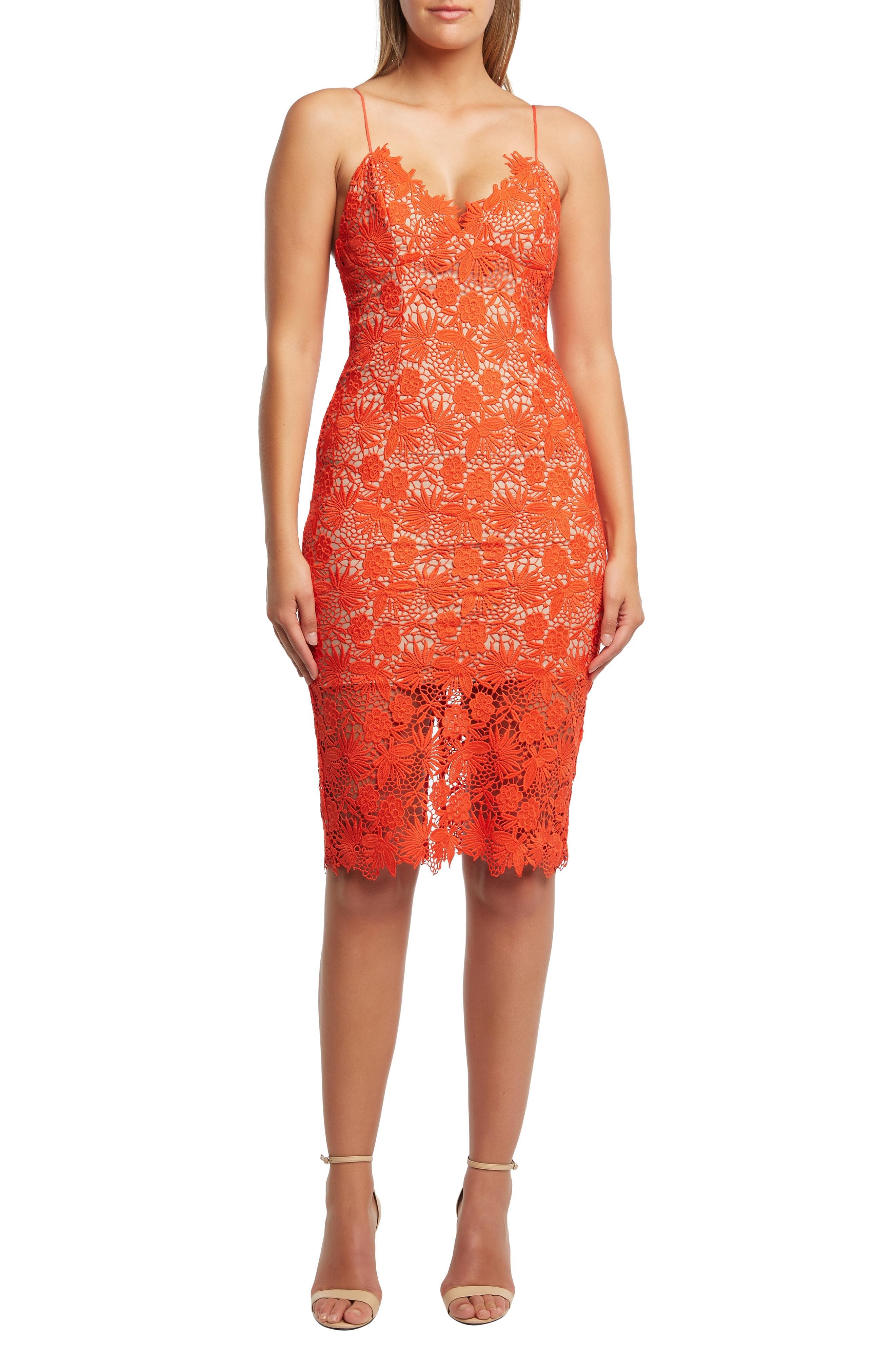 74d60dfbbc66 Lyst - Bardot Tayla Lace Cocktail Dress in Orange