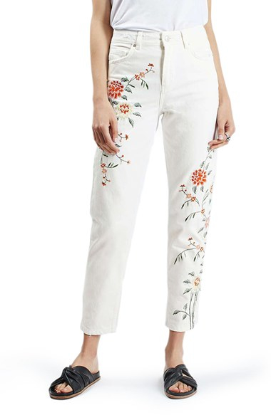Topshop Floral Embroidered Mom Jeans In White  Lyst