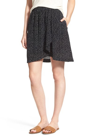 madewell dot print silk faux wrap skirt in black lyst
