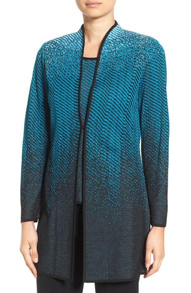 ming wang long jacquard knit jacket in black lyst