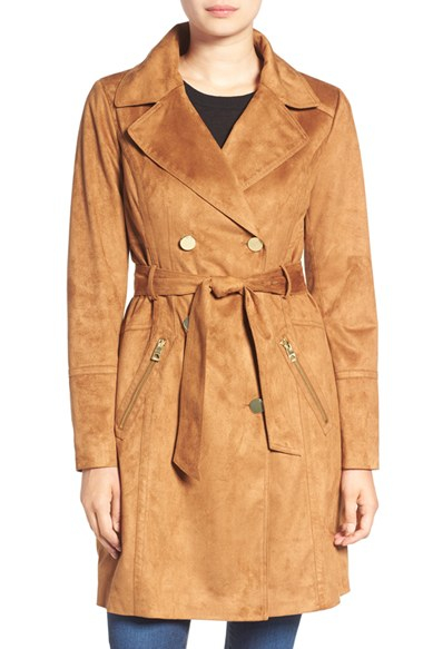 Guess Faux Suede Double Breasted Trench Coat Lyst