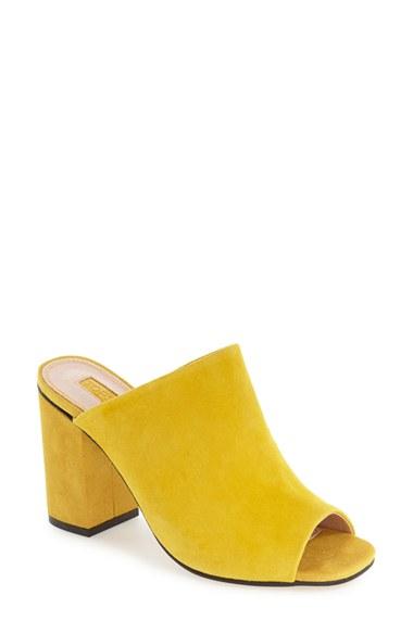Lyst Topshop Rule Block Heel Mule In Yellow