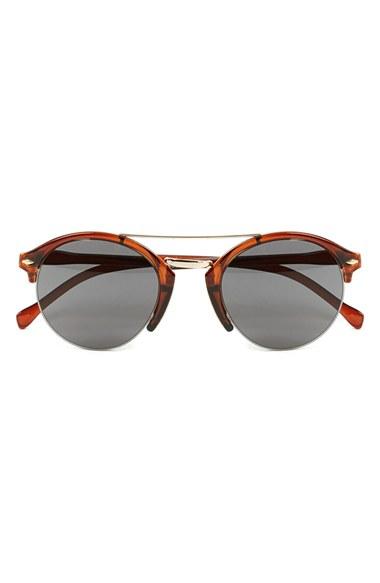Half Frame Glasses Brown : Topman 50mm Half Frame Sunglasses in Brown for Men Lyst