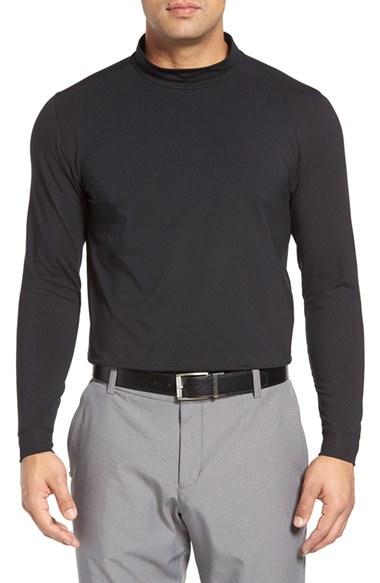 Bobby jones 39 liquid cotton 39 mock neck t shirt in grey for for Mens mock turtleneck shirts sale