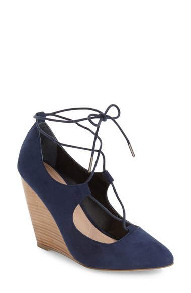 Lyst Charles By Charles David Ima Ghillie Lace Wedge In Blue