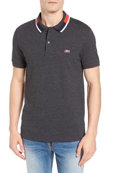 Lacoste Contrast Collar Pique Polo In Gray For Men Lyst