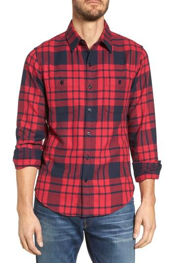 Bonobos slim fit plaid flannel shirt in red for men lyst for Trim fit flannel shirts
