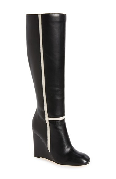 calvin klein poloma wedge boots in black lyst