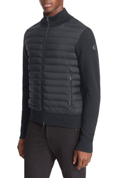 Moncler Mixed Media Quilted Jacket In Black For Men Lyst