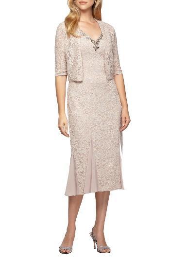 Alex Evenings Lace Tea Length Dress With Bolero Jacket Lyst