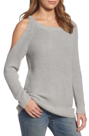 Lyst - Treasure & bond Asymmetrical Cold Shoulder Sweater in Gray