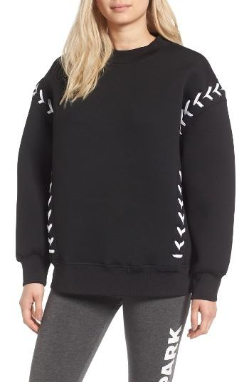 lyst ivy park laced sweatshirt in black. Black Bedroom Furniture Sets. Home Design Ideas