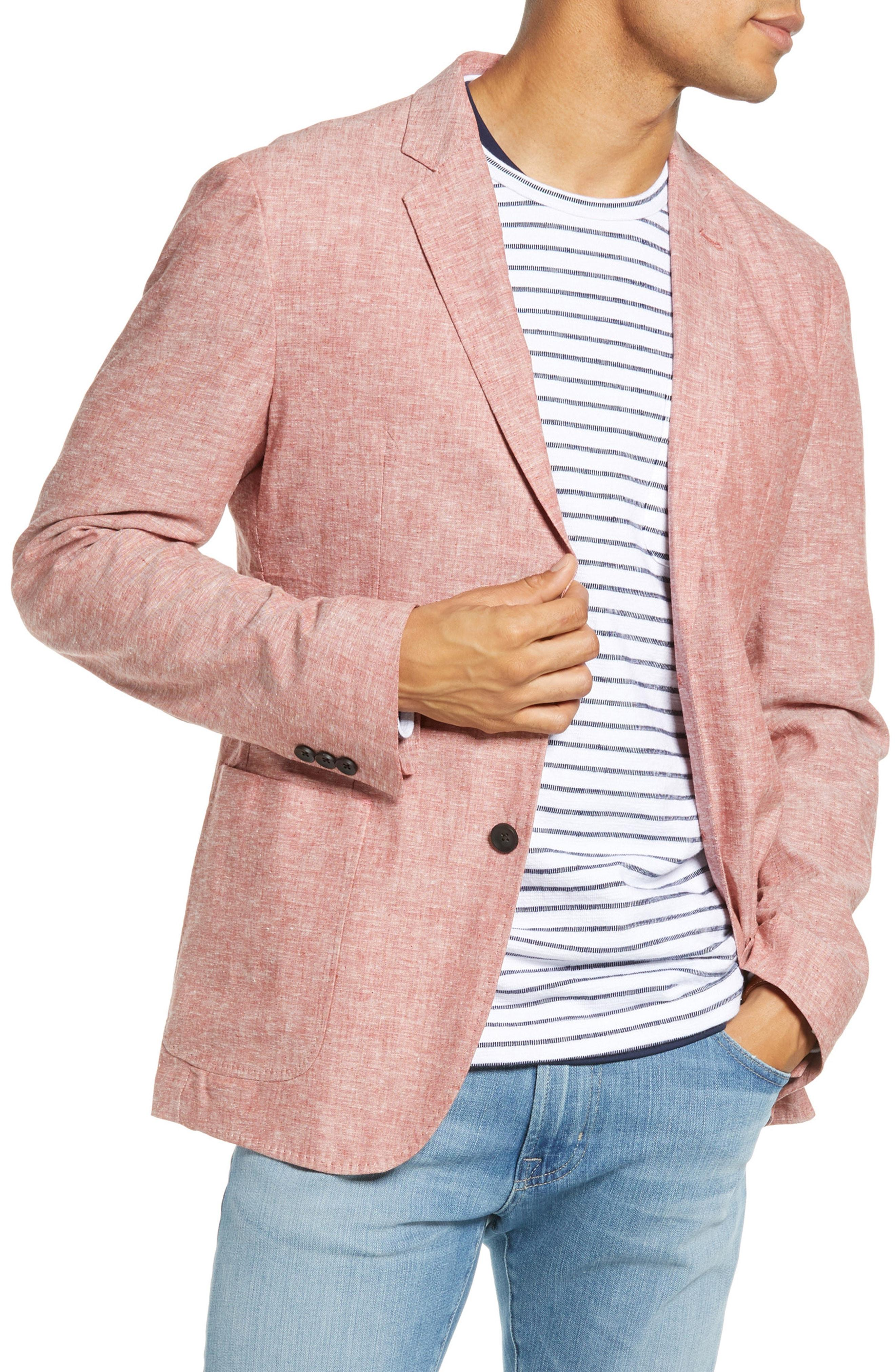 18d3e800ef5 Lyst - Nordstrom 1901 Extra Trim Fit Chambray Sport Coat in Pink for Men