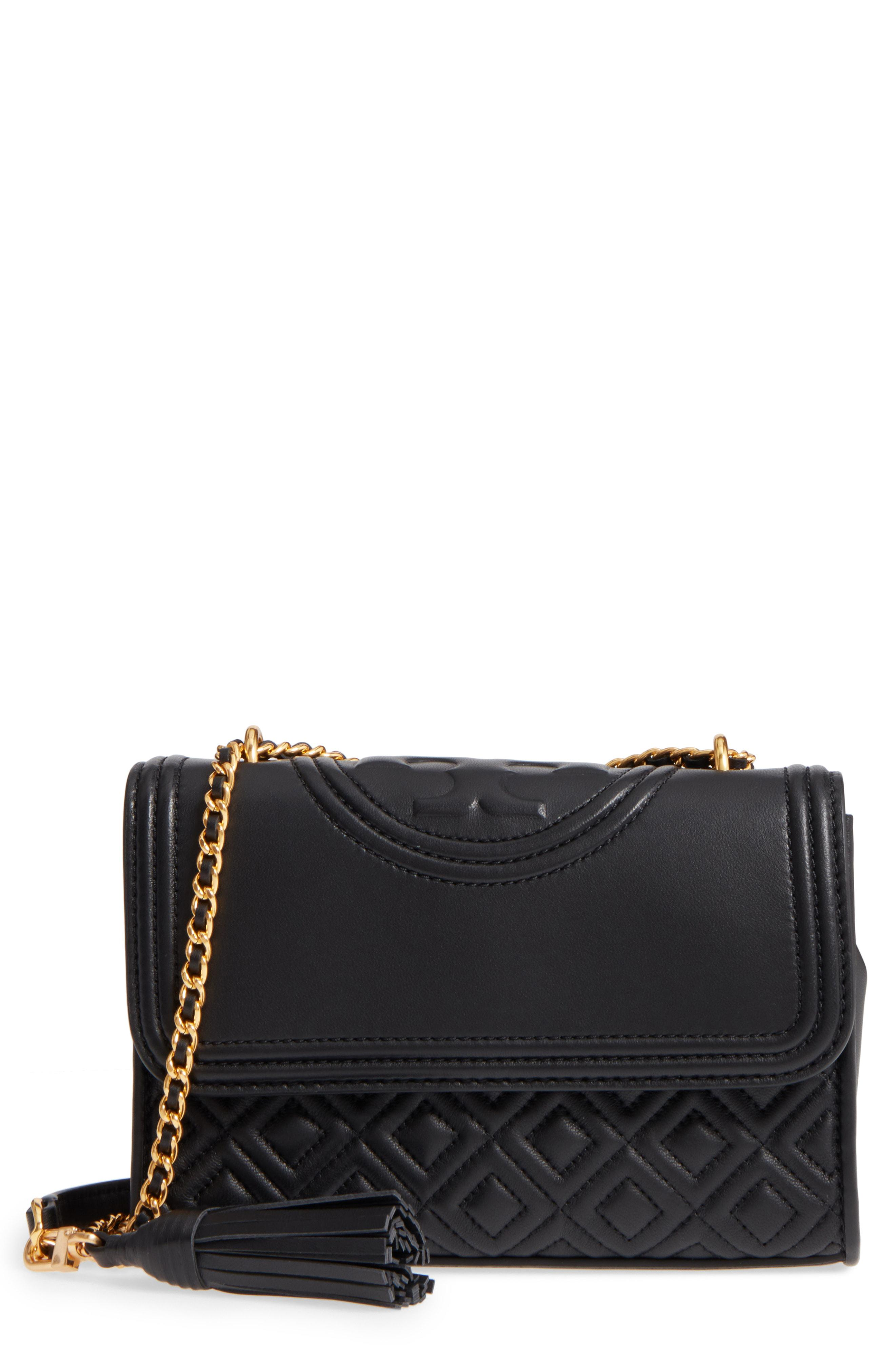 1c6fd75f5c7d Tory Burch. Women s Black Small Fleming Leather Convertible Shoulder Bag -