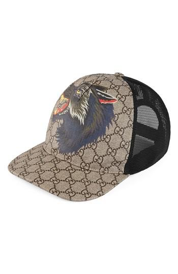 c9802be21 Gucci Brown Supreme Wolf Trucker Hat for men