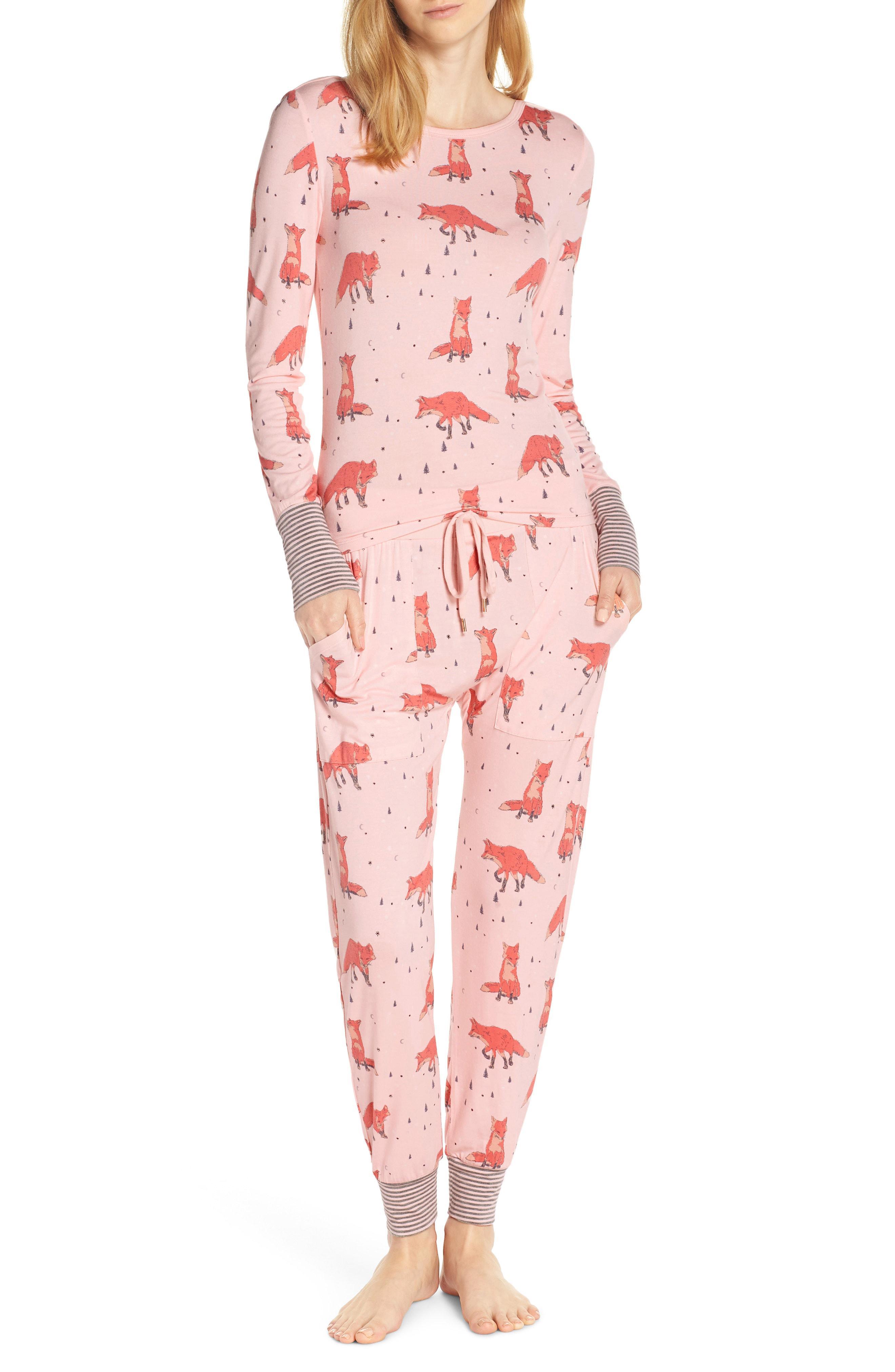 5b1309afadb6 Lyst - Honeydew Intimates Campfire Cutie Jersey Pajamas in Pink