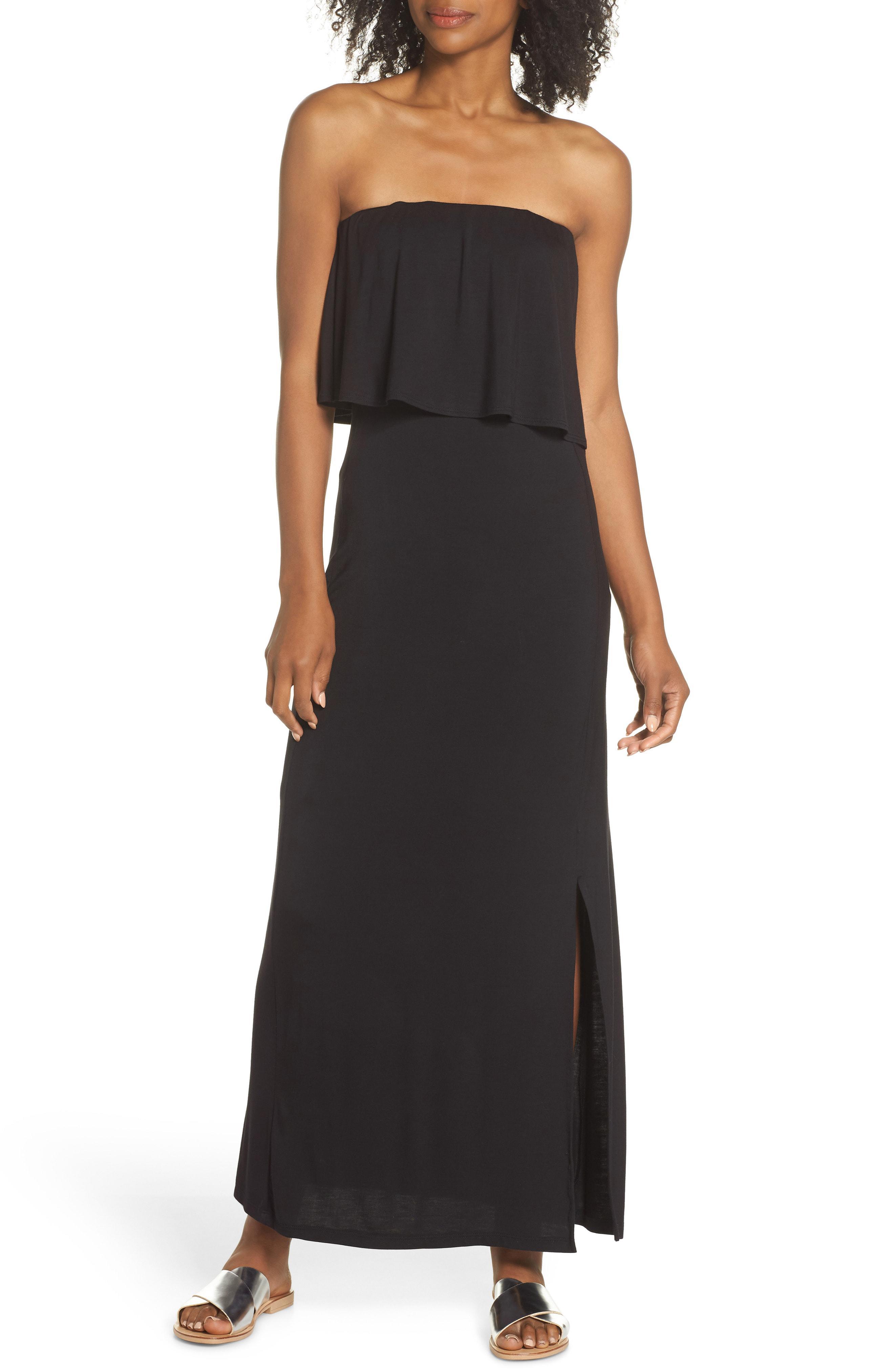 1f3d4bc19c Lyst - Fraiche By J Strapless Popover Maxi Dress in Black
