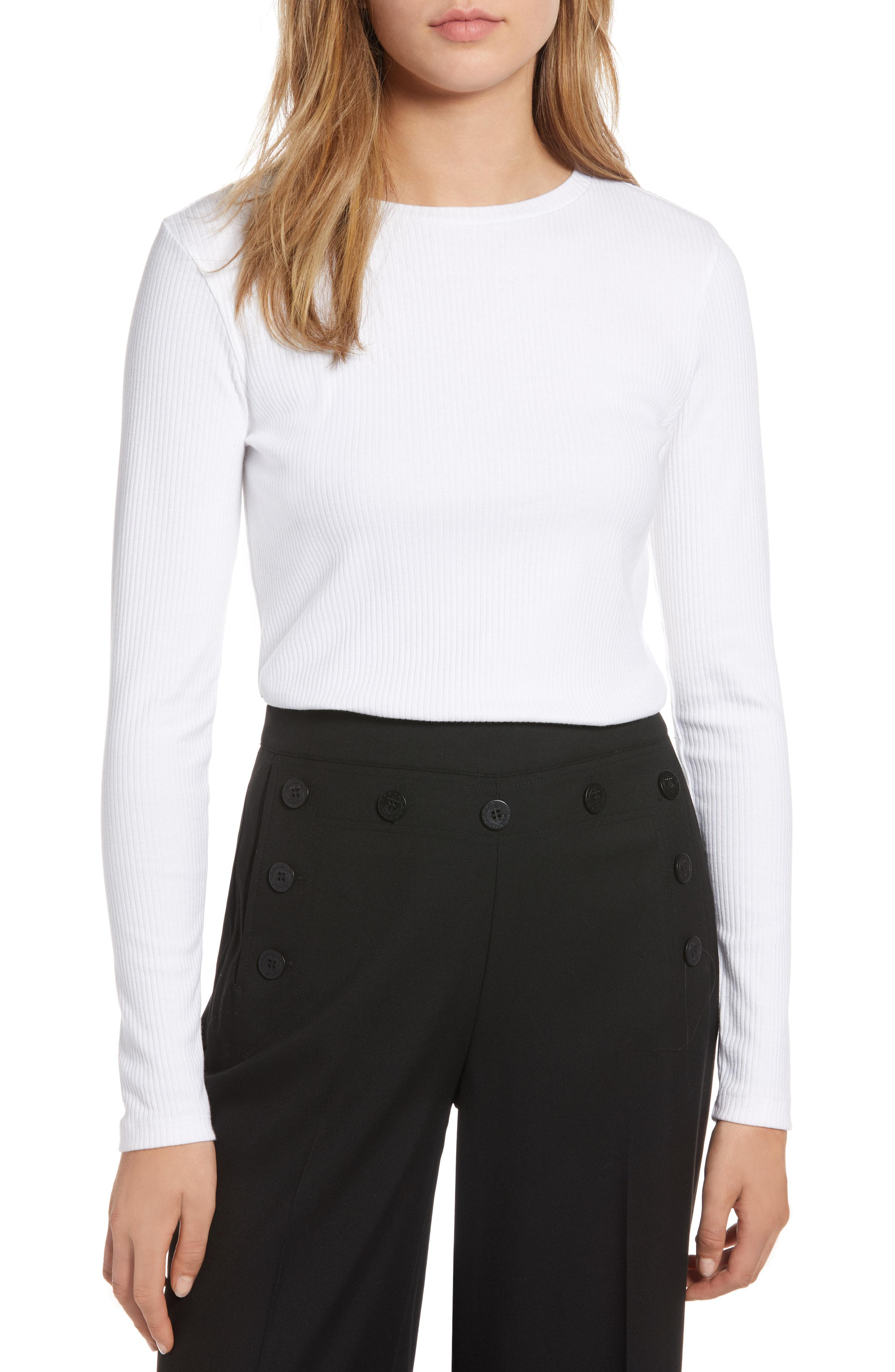 76d139d9df Lyst - Nordstrom 1901 Rib Crewneck Stretch Cotton Top in White