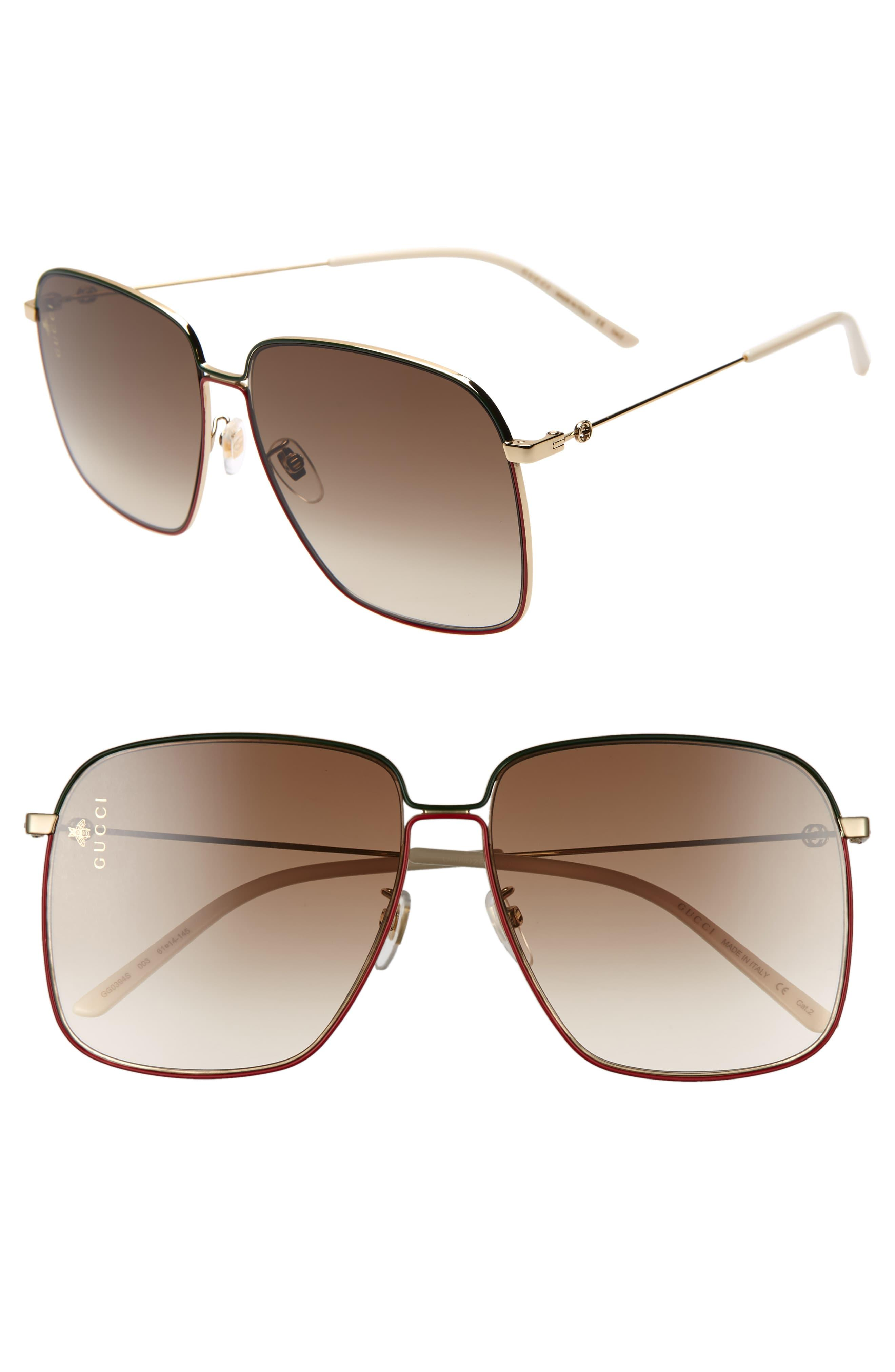 bed0d1a3494865 Gucci - Brown 61mm Square Sunglasses - Lyst. View fullscreen