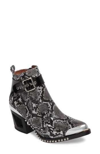 Jeffrey Campbell Verdant Studded Snakeskin Embossed Bootie